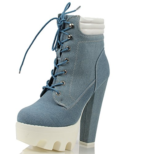 CAPE ROBBIN Womens Laura Denim Lug Soles Platform High Heek Ankle Bootie, Dark Denim, 5 M US Light Denim