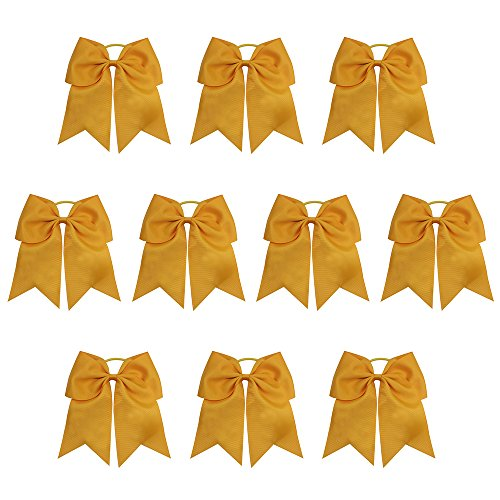 """Sacarla 10 Pieces 7.5"""" Girls Large Cheer Hair Bows Ponytail Holder Elastic Hair Ties for Cheerleading Girls 20 Colors Available (Dandelion)"""