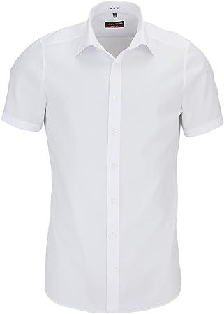 Camisa de manga corta de Marvelis, con cuello New Kent en corte entallado de algodón puro en color b