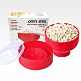 NEW - Best Silicone Microwave Popcorn Popper / Popcorn Maker, Red Collapsible Popcorn Bowl with lid for home - BPA free - for Healthy Homemade Butter & Oil-Free Recipes - by Chef's Area