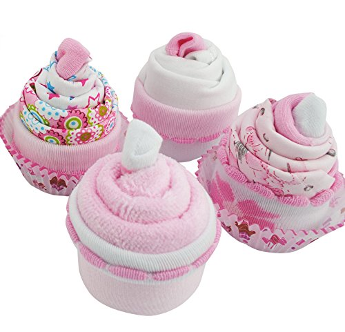Baby Shower Gifts – Cupcake Set with Face Cloth, Baby Girl Socks, New Baby Clothes and a Bandana Bib for New Born Baby Girl Embellished Girls Socks
