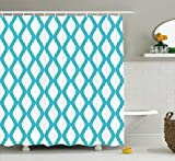 Ambesonne Teal Decor Collection, Abstract Tangled Lattice Pattern Historic Moroccan Style Architectural Ornate, Polyester Fabric Bathroom Shower Curtain, 84 Inches Extra Long, Aqua