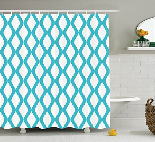 Ambesonne Teal Decor Collection, Abstract Tangled Lattice Pattern Historic Moroccan Style Architectural Ornate, Polyester Fabric Bathroom Shower Curtain, 84 Inches Extra Long, Aqua (Bold Stripe Wallpaper)