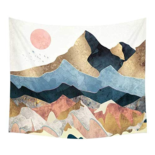 Chengsan Peak Wall Hanging Tapestry Sunset Golden Mountain Headboard Wall Art Bedspread Dorm Tapestry Home Decor (59x51Inches, 10)