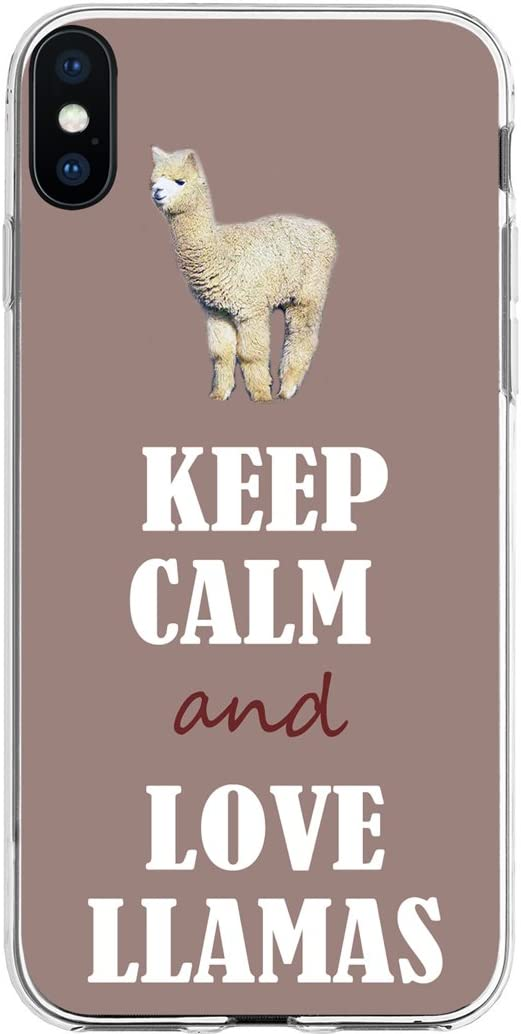 TPU Case for Phone Xs Llamas & Cover for Phone X & MUQR Flexible Gel Silicone Slim Drop Proof Protection Cover Compatible with iPhone Xs(10S) & X(10) & Lovely Llama Animal Keep Calm Design