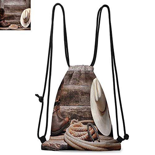 (Western Decor Easy to carry drawstring backpac American West Rodeo White Straw Cowboy Hat with Lariat Leather Boots on Rustic Barn Wood Durable Drawstring Backpack W17.3 x L13.4 Inch)