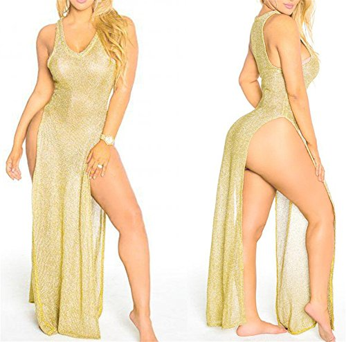 Womens Summer Sexy Deep V-neck Knitted Sleeveless High Split Party Club Beach Dress Hollow Out Overall Gold S