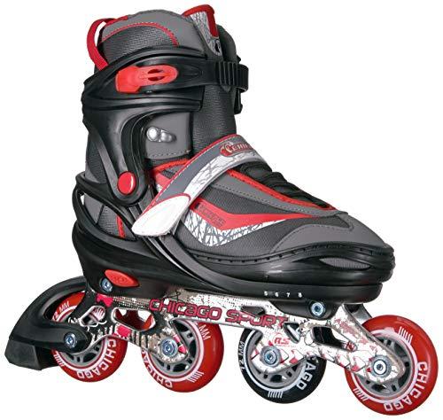 Chicago Adjustable Red Inline Skates - Youth Large (Adjusts Size 5-8)