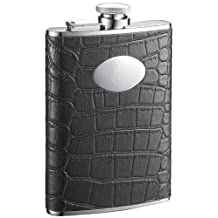 "Visol ""Noir"" Crocodile Leather Stainless Steel Hip Flask, 8-Ounce, Black"