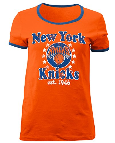 - 5th & Ocean NBA New York Knicks Adult Women Ladies Baby Jersey Short Sleeve Ringer Tee,S,Orange