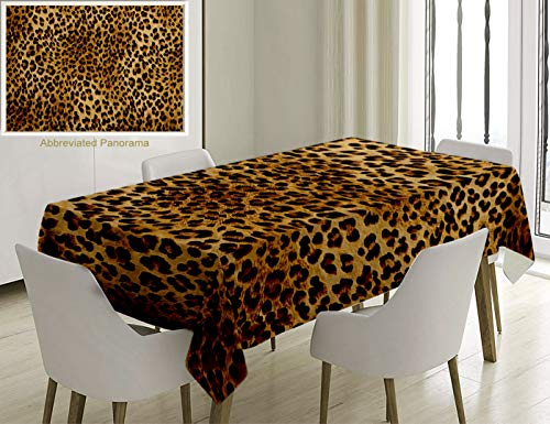 Nalagoo Unique Custom Cotton and Linen Blend Tablecloth 0- Brown Leopard Print Animal Skin Digital Printed Wild African Safari Themed Spotted PatternTablecovers for Rectangle Tables, 60 x 40 -