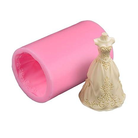 BESTONZON Silicone Sugar Fondant Mold nupcial vestido de novia Cake Biscuit Chocolate Candy molde de la