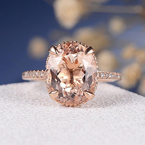 Oval Pink Morganite 9x11mm Big VS Gemstone Claw Prongs Filigree Floral Art Deco Diamond Thin Band Engagement Ring Solid 14k Rose Gold Vintage Antique Eternity Anniversary Women Gifts
