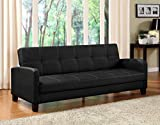 DHP Delaney Sofa Sleeper in Rich Faux Leather, Multifunctional, Black