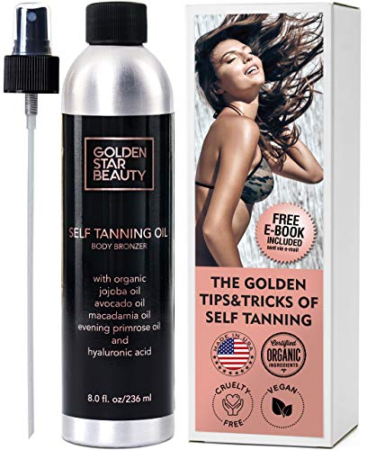 - Self Tanner - Sunless Tanning Oil, Organic Spray Tan w/Hyaluronic Acid and FREE Bonus Gloves & eBook, No Fake Tan Smell & Streak Free for Perfect Golden Glow 8.0 fl.oz