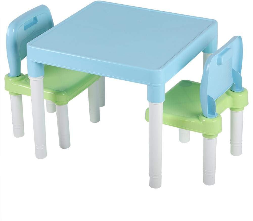 Sicherer Kunststoff Einfach zusammenzubauen EBTOOLS Kindersitzgruppe Sitzgruppe f/ür Kinder Kindertisch mit 2 St/ühle Studium Schreibtisch Kinderm/öbel Set f/ür zu Hause Kindergarten Blaues Gr/ün