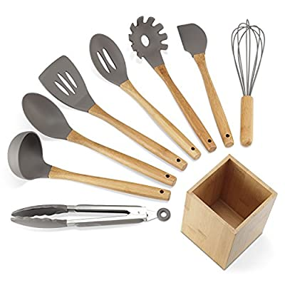 NEXGADGET 9-Piece Silicone Cooking Utensil Set with bamboo Handle from NEXGADGET