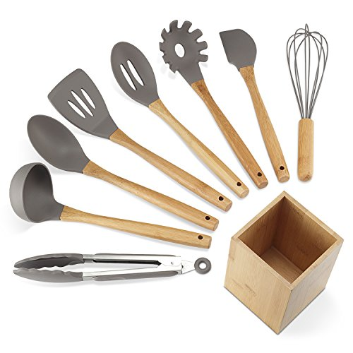 Silicone Kitchen Utensils - NEXGADGET Premium Silicone Kitchen Utensils 9-Piece Cooking Utensils Set with Bamboo Wood Handles for Nonstick Cookware, Utensils Holder Included