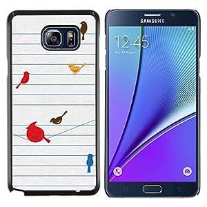 Stuss Case / Funda Carcasa protectora - Aves minimalista lindo Dibujo - Samsung Galaxy Note 5