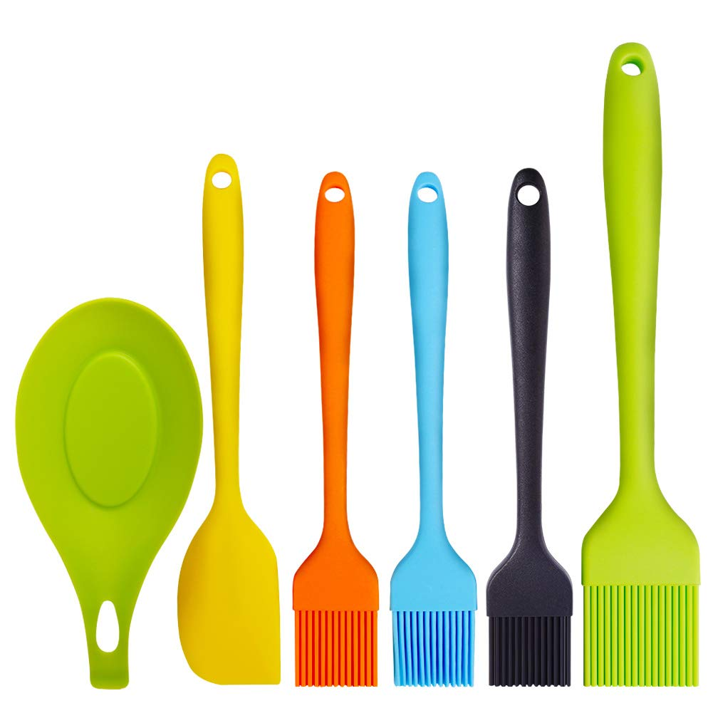 Topsome Basting Brush Silicone Heat Resistant BPA Free Pastry Brushes with Spatula for BBQ Grill Barbeque & Kitchen Baking Set Oil Brushes Soft Bristles Long Handle (6 Pack) with Storage Bag