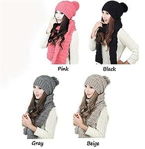 YHC 2015 New Women Mujeres Lady Winter Warm Knit Cowl Neck Long Scarf Bufanda Shawl+Hat SombreroSet Colour Creamy-white
