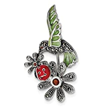 Sterling Silver Antiqued Epoxy/Marcasite/Red Glass Ladybug Flower Pin QP4887