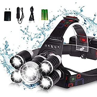JIJI&CUI Head Torch Rechargeable Headlights with 5 Light 4 Modes, 12000 Lumens Ultra Bright LED Lamp, Hands-Free… 4