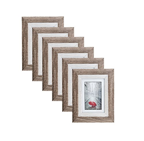 (Distressed Brown MDF Wood Picture Frame 5x7 (6 pc) Display with Photo Glass Front, Easel Back, and Wall Hang Clip | 6 Piece Set)