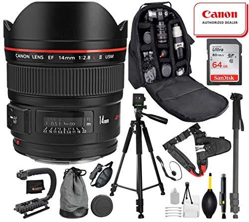 Canon EF 14mm f/2.8L II USM Lens with Professional Bundle Package Deal Kit for EOS 7D Mark II, 6D Mark II, 5D Mark IV, 5D S R, 5D S, 5D Mark III, 80D, 70D, 77D, T5, T6, T6s, T7i, SL2