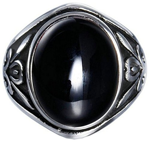 Amdxd Jewelry Stainless Steel Mens Engagement Rings Black Oval Shape Flower Engraved Pattern Size 7