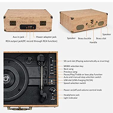 CMC Portable Bluetooth 3 Speed Turntable with Built in Stereo Speakers, Vintage Style Vinyl Record Player,Khaki