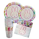 Miffy / Nijntje Bunny Rabbit Theme Party Supplies, party pack, party kit for 12 - plates, napkins, cups