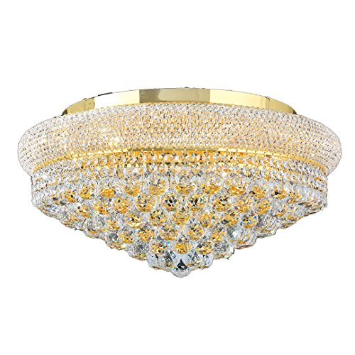 Worldwide Lighting Empire Collection 12 Light Gold Finish and Clear Crystal Flush Mount Ceiling Light 24
