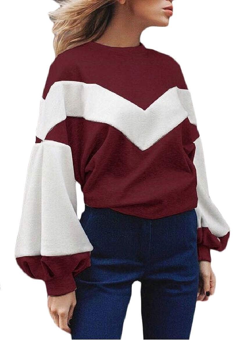 FLCH+YIGE Womens Casual Long Sleeve Color Block Loose Sweatshirt