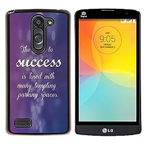 Caucho caso de Shell duro de la cubierta de accesorios de protección BY RAYDREAMMM - LG L Bello L Prime - Éxito Cursive Cita inspiradora púrpura