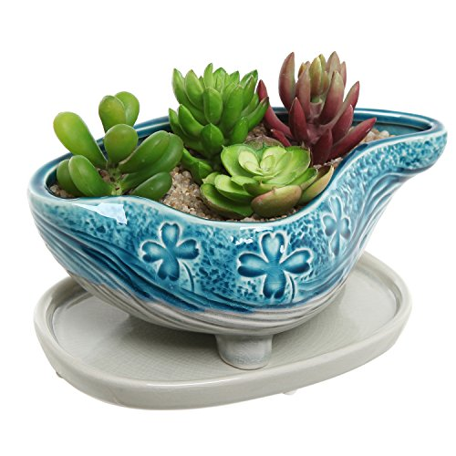 Turquoise & Gray Abstract Design Ceramic Succulent Plant Flower Planter Pot w/ Removable Saucer - MyGift
