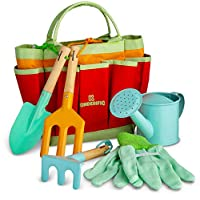 Kinderific Gardening Tool Set, Designed for Kids, STEM, Tote Bag, Spade, Watering Can, Rake, Fork, Trowel, Gloves.