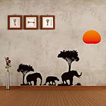 Magic Candle Nursery Wall Stickers African Elephants Under Trees and Sunset DIY Vinyl Removable Art Wall Decals Mural Home Art Decal Kids Room Decor