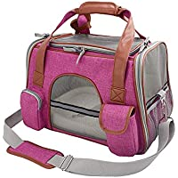 OPENROAD Premium Pet Carrier Airline Approved Soft Sided for Cats and Dogs Portable Cozy Travel Pet Bag, Car Seat Safe Carrier(Purple)