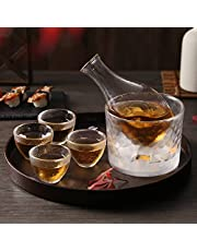 DUJUST Japanese Sake Set for 4, Glass Hammer Pattern in Golden Trim, 1 Cyrstal Clear Sake Bottle, 1 Sake Tank and 4 Sake Cups, Cold/Warm/Hot Sake Carafe, Special Japanese Gifts Set - 6 pcs