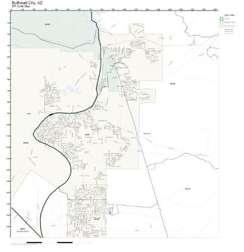 Amazon Com Zip Code Wall Map Of Bullhead City Az Zip Code Map