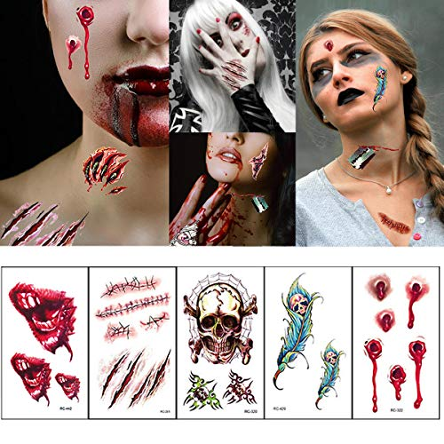 12 Sheets Halloween Temporary Tattoos Stickers Zombie Tattoos Fake Scars Tattoos for Halloween Party Prop Decorations Makeup and Cosplay