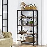 "O&K Furniture 5-Shelf Industrial Bookcase Book Shelves, Metal Bookshelf Rack Display Storage, 61.4""H x 33""W x 13""D, Barn-Wood Finish"