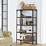 "O&K Furniture 5-Shelf Industrial Bookcase and Book Shelves, Metal Bookshelf Rack for Display and Storage, 61.4""H x 33""W x 13""D, Barn-Wood Finish"