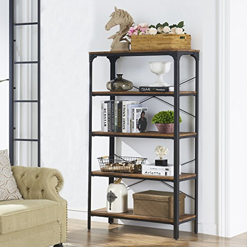 "O&K Furniture 5-Shelf Industrial Bookcase and Book Shelves, Metal Bookshelf Rack for Display and Storage, 61.4""H x 33""W x 13""D, Barn-Wood - Etagere Large"