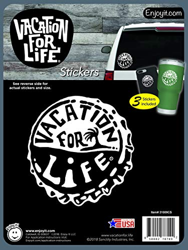 Enjoy It Bottle Cap - Vacation for Life Stickers - Outdoor Rated Vinyl Sticker Decals for Cars, Water Bottles, Laptops or Crafts