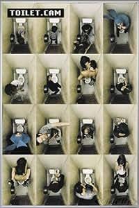 Toilet. Cam (93 x 62 cm) Póster de enmarcado: marco de plata mate
