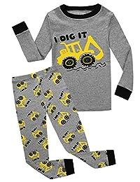 Little and Big Boys Truck Pajama 100% Cotton Childrens Sleepwear Clothes Set