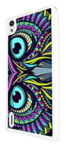386 - Aztec Owl Face Cool Design For Huawei Ascend P7 Fashion Trend CASE Back COVER Plastic&Thin Metal - White