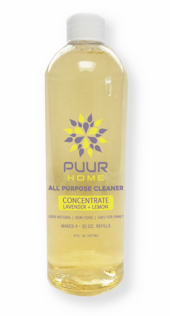 PUUR Home Natural All Purpose Cleaner Concentrate Refill 16 oz. - Lemon Lavender Scent - Makes 1 Gallon (128 oz.) Total - Baby Safe - Pet Safe - Non Toxic - Biodegradable